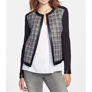 T Tahari Ruby Faux Leather Trim Tweed Jacket